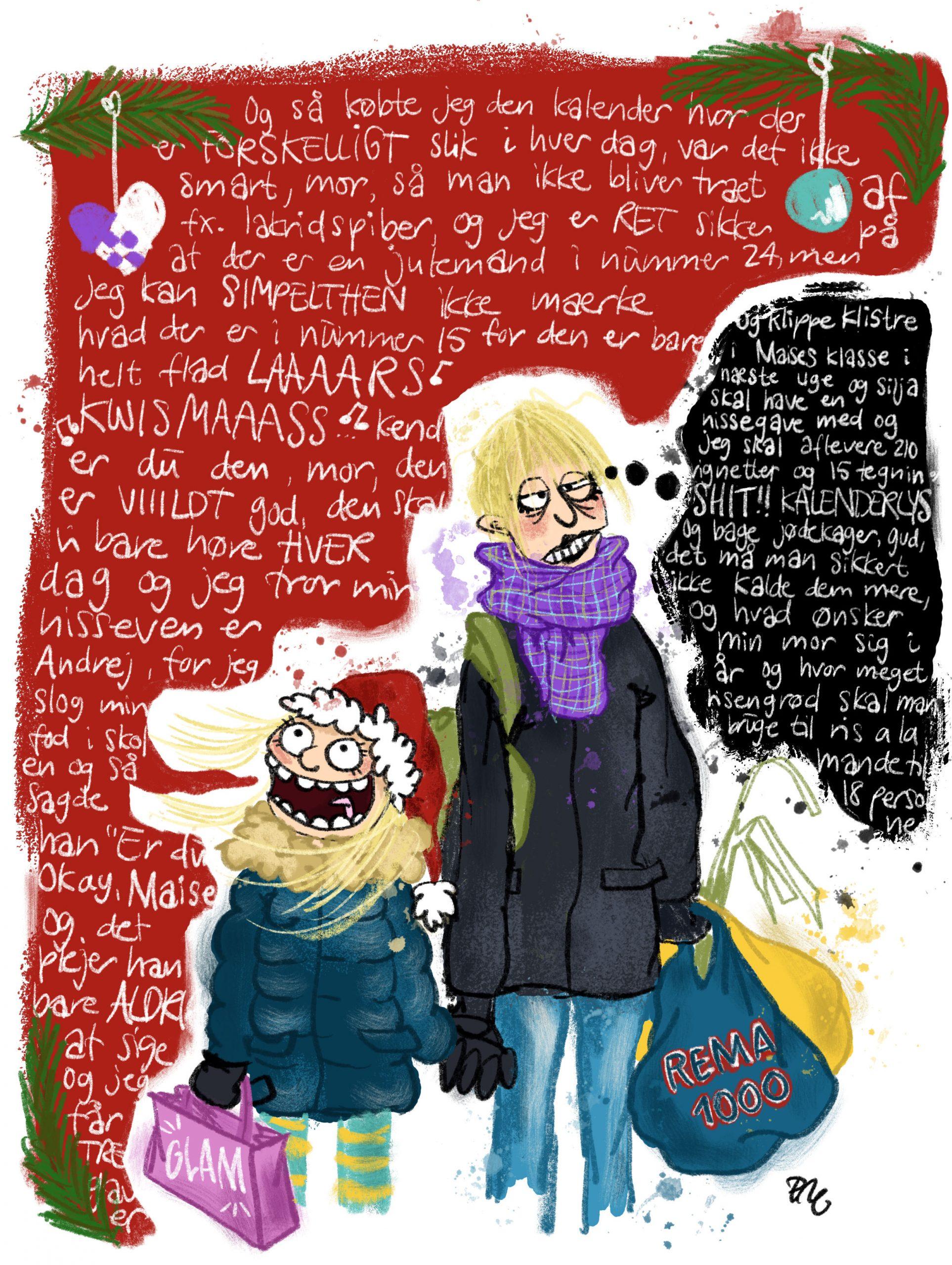 illustration af juleshopping